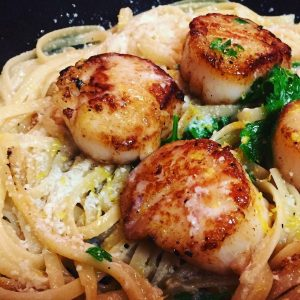 Pan Seared Scallops with Linguine